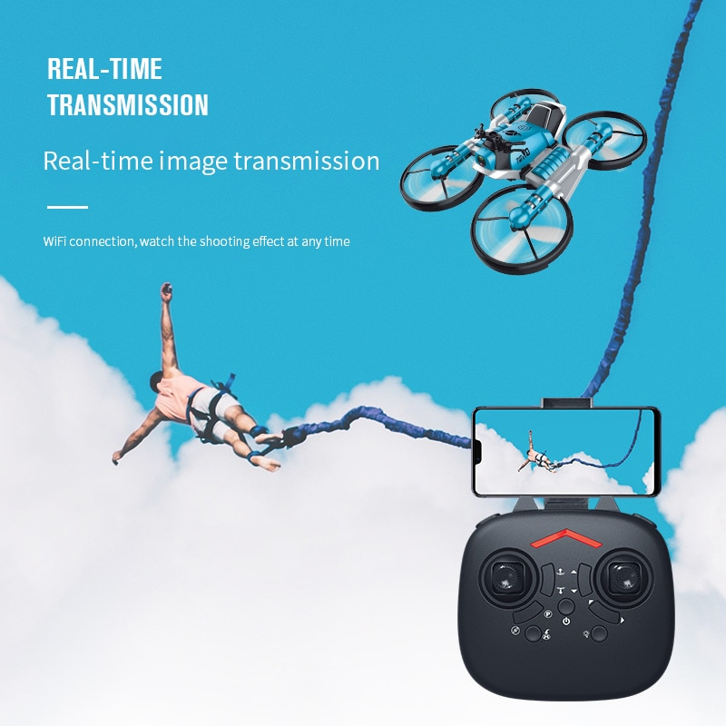 New H6 2-in-1 Folding RC Drone & Motorcycle Vehicle Multi-functional Folding Quadcopter wiht WIFI camera Headless Mode RTR Toys enlarge