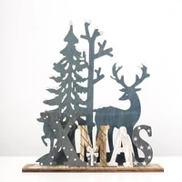 19x17cm christmas wooden elk ornament diy xmas pendant table decoration 2022 new year navidad home party for kids adult gifts