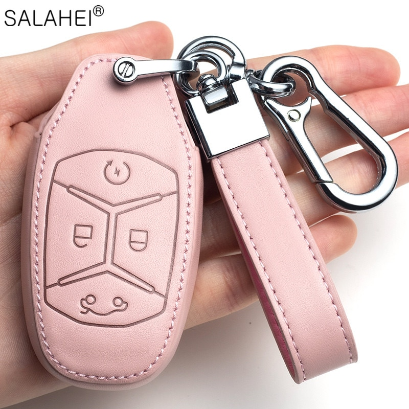 Leather Car Key Remote Cover Full Case For Lynk 4 Buttons Keyless Fob Keychain Protection Interior Accessories Styling