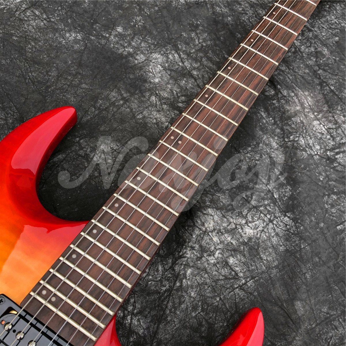 Top Quality Red and Yellow Flame Maple Top Electric Guitar,Hot Selling Black Hardware 6 Strings Guitar enlarge