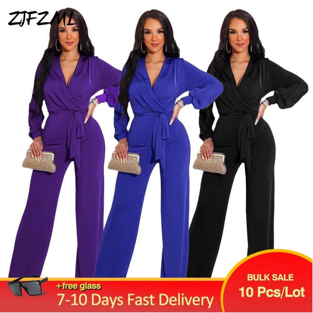 Bulk Items Wholesale Lots Women's Full Length Jumpsuit 2021 OL Solid Long Sleeve Wide Leg Romper Classy Workwear Straight Outfit