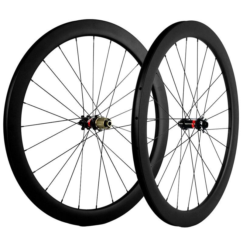 Freno de disco de 700C, ruedas de carbono para bicicleta de carreras, 50mm, juego de calcomanías blancas, juego de ruedas de bicicleta de carretera, cubierta de carbono de 25mm de ancho o 23mm