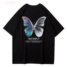 Streetwear Tees Shirts Butterfly Print Short Sleeve Casual Tshirts Hip Hop Harajuku Short Sleeve Loo