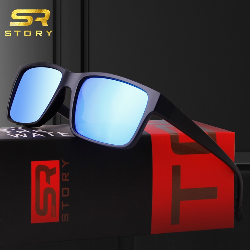 Gafas de sol polarizadas STORY para hombre, de alta calidad TR90 inspirado en diseño de marca, montura Rectangular, gafas de sol con espejo azul, gafas de sol masculinas
