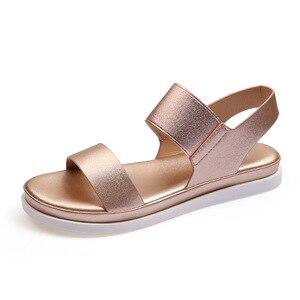 women sandals microfiber leather 2.5cm heels ladies lady female student open toe plus size 36-42 beach gold summer footwear shoe