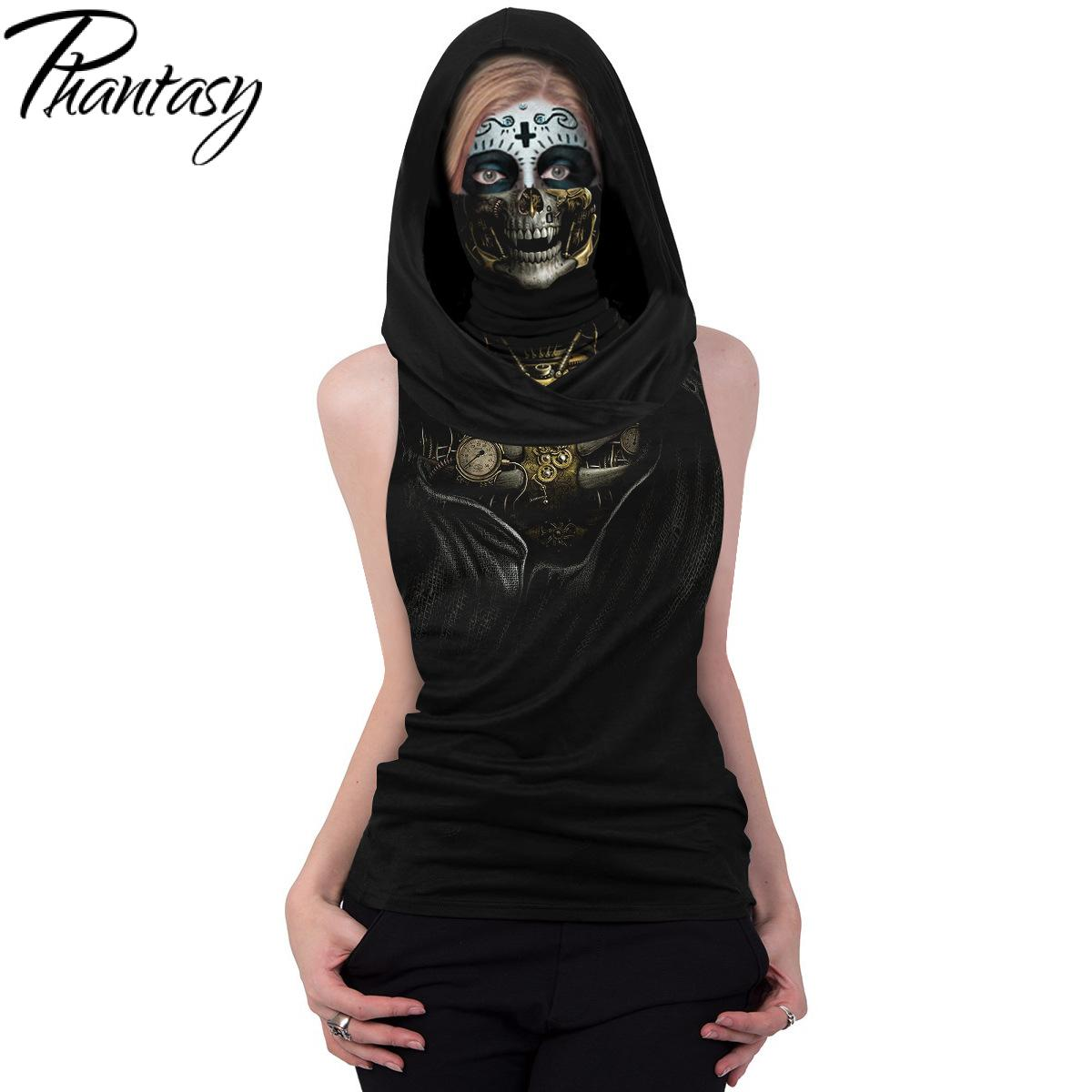 Phantasy famale roupas femininas crânio esqueleto máscara t-shirts cosplay com capuz meia face cachecol tshirt festa de halloween topos sleeveles