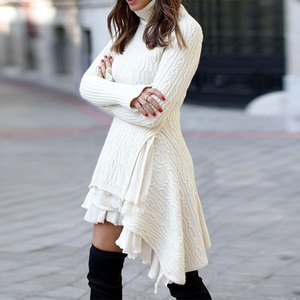 New Ladies Dress Pullover Long-Sleeved Solid Color Irregular Sweater White Lace Shows Thin Temperament Commuter Ladies Skirt
