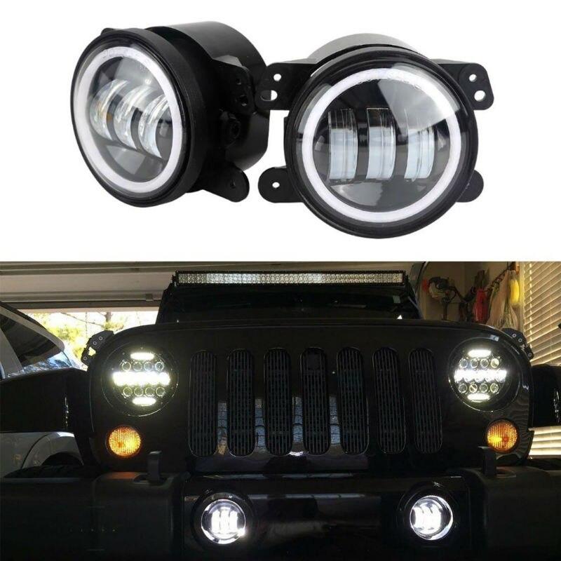 Für Jeep Wrangler Dodge Chrysler Cherokee 2PCS 4 Inch 30W Runde LED Vorbei Nebel Lichter LED Fahren Lampe mit Blinker und DRL