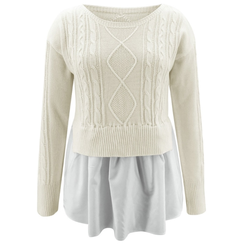 Women Long Sleeve O-Neck Cable Knit Sweater Ruffles Hem Patchwork Pullover Top enlarge