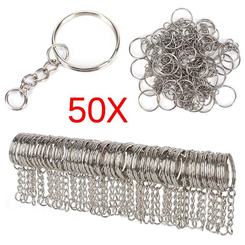 Silver Plated Metal Blank Keyring Keychain Split Ring Keyfob Key Holder Rings Women Men DIY Key Chains Key Ring Accessories