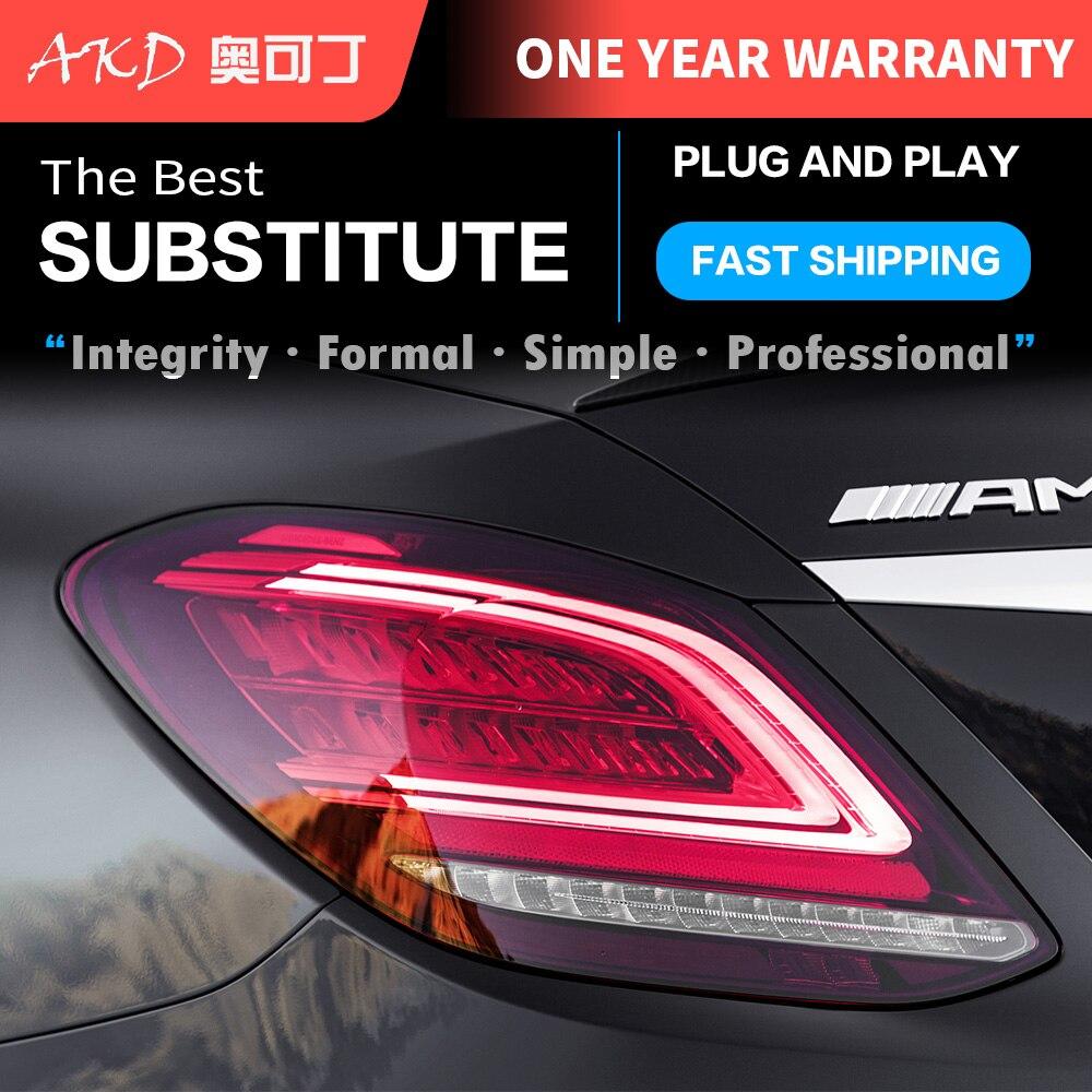 المصابيح الخلفية الجمعية لبنز C-Class W205 C180 C200 C260 C6 LED لمبة خلفية الفرامل عكس ضوء لمبة خلفية DRL سيارة أضواء خلفية
