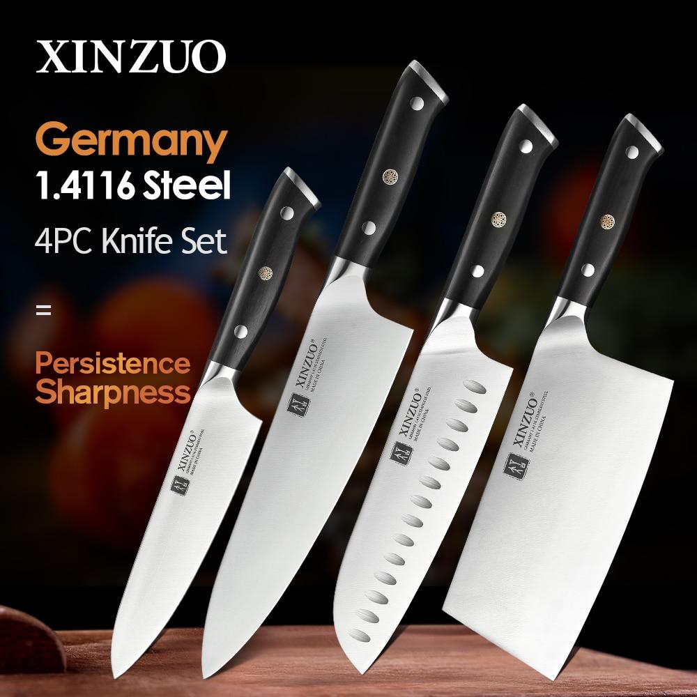 XINZUO 4 قطعة الشيف الساطور Santoku فائدة السكاكين مجموعة عالية الكربون الدين 1.4116 الفولاذ المقاوم للصدأ جديد سكاكين المطبخ مع الأبنوس مقبض