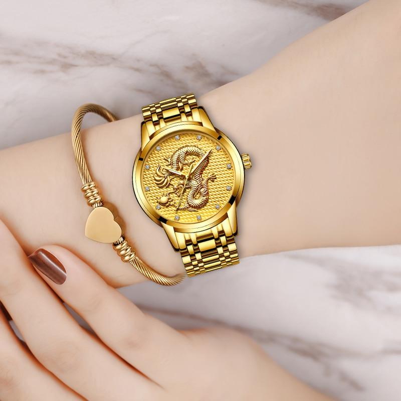 LIGE Women Watches Women Fashion Watch 2020 Classic Ladies Watch Luxury Brand Diamond Quartz Gold Wrist Watch Gift For Women+Box enlarge