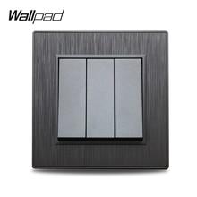Wallpad S6 interrupteur électrique, 3 boutons, 1 voie, 2 voies, noir, argent, or, brossé, imitation plastique et aluminium