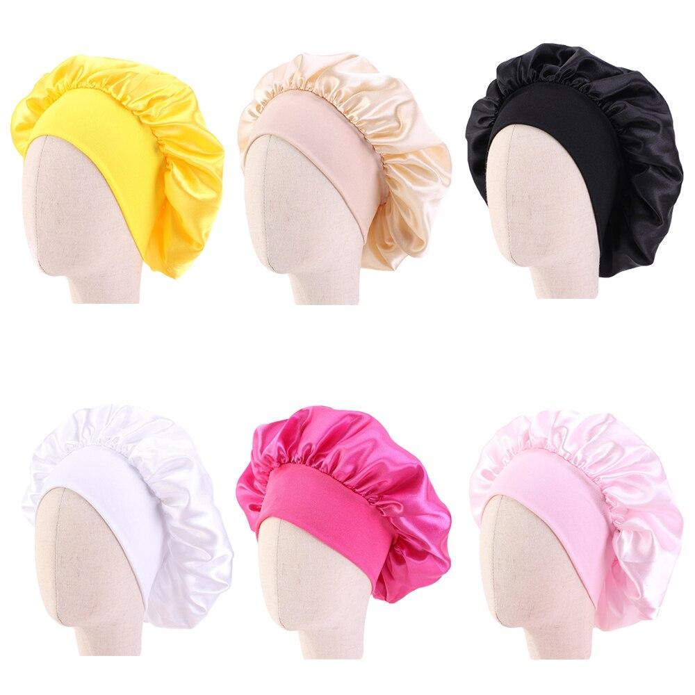Gorro de dormir de satén de 8 colores, gorro para el cuidado del cabello para niñas, gorro elástico con banda ancha, gorro envolvente, gorro turbante, gorro de ducha