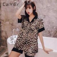 caiyier fashion sexy leopard silk pajamas for women summer short sleeve sleepwear turn down collar soft leisure nightwear m xl
