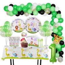 1 Juego de globo de decoración de jungla para fiesta de Safari, juego de vajilla de animales, 40 pulgadas, número de globos, adornos de pastel para la ducha, Bandera de cumpleaños para niños