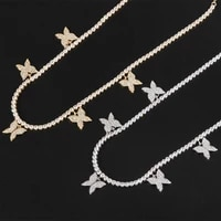 funmode new butterfly shape tennis link chain cubic zircon charm pendant necklace for women accessories jewelry fn227