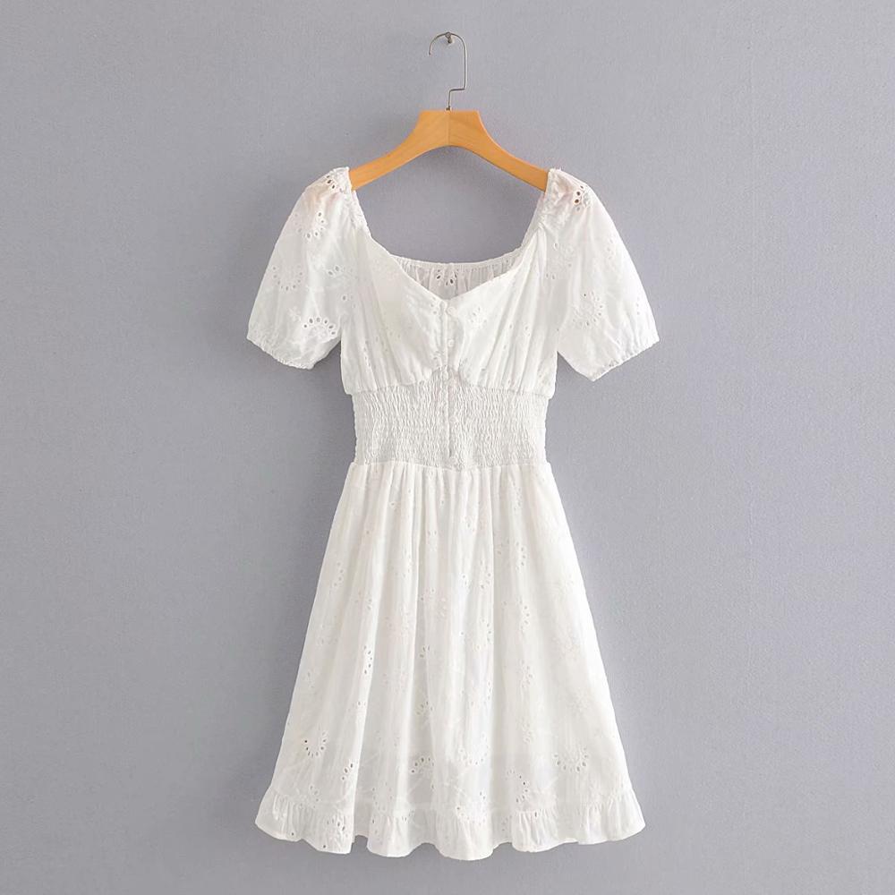 Mulheres sexy cintura elástica slash neck branco mini vestido chique feminino oco para fora bordado casual magro vestidos de festa ds3707