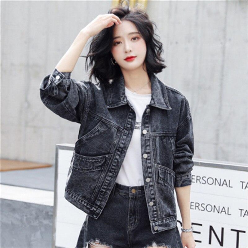 denim jacket Jeans Coat Women's Vintage Black Autumn 2020 New Korean-Style Long Sleeve Loose women coats and jackets 96B