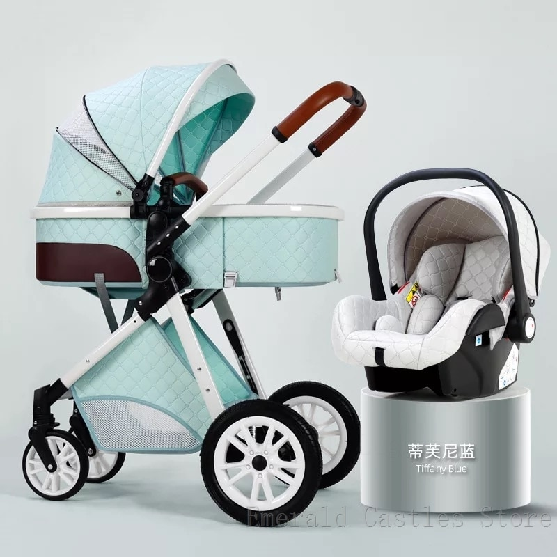 Luxury Baby Stroller 3 in 1 High landscape Baby Cart Can Sit Can Lie Baby Pushchair newborn Cradel Infant Carrier foldedstroller