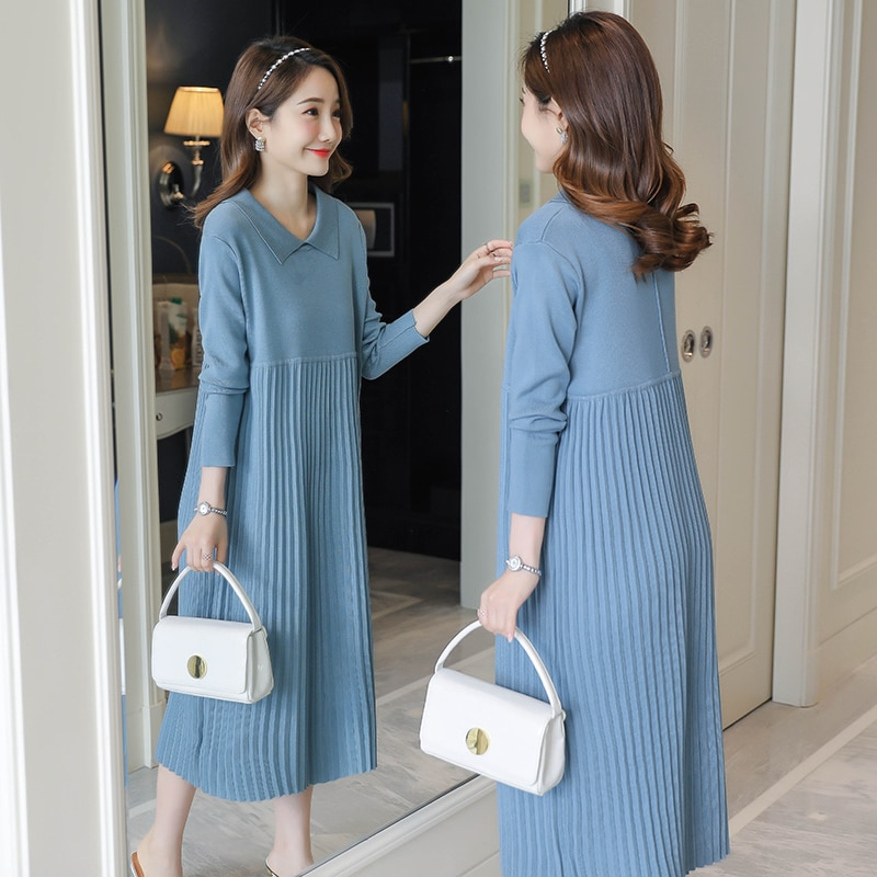 2059# Autumn Winter Thick Warm Knitted Maternity Long Dress Sweet Clothes for Pregnant Women Winter Pleated Pregnancy Sweaters
