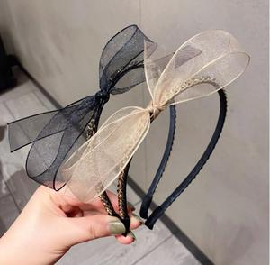 Net yarn ins wind girl sweet wild chain water brick bow headband headband female simple headdress