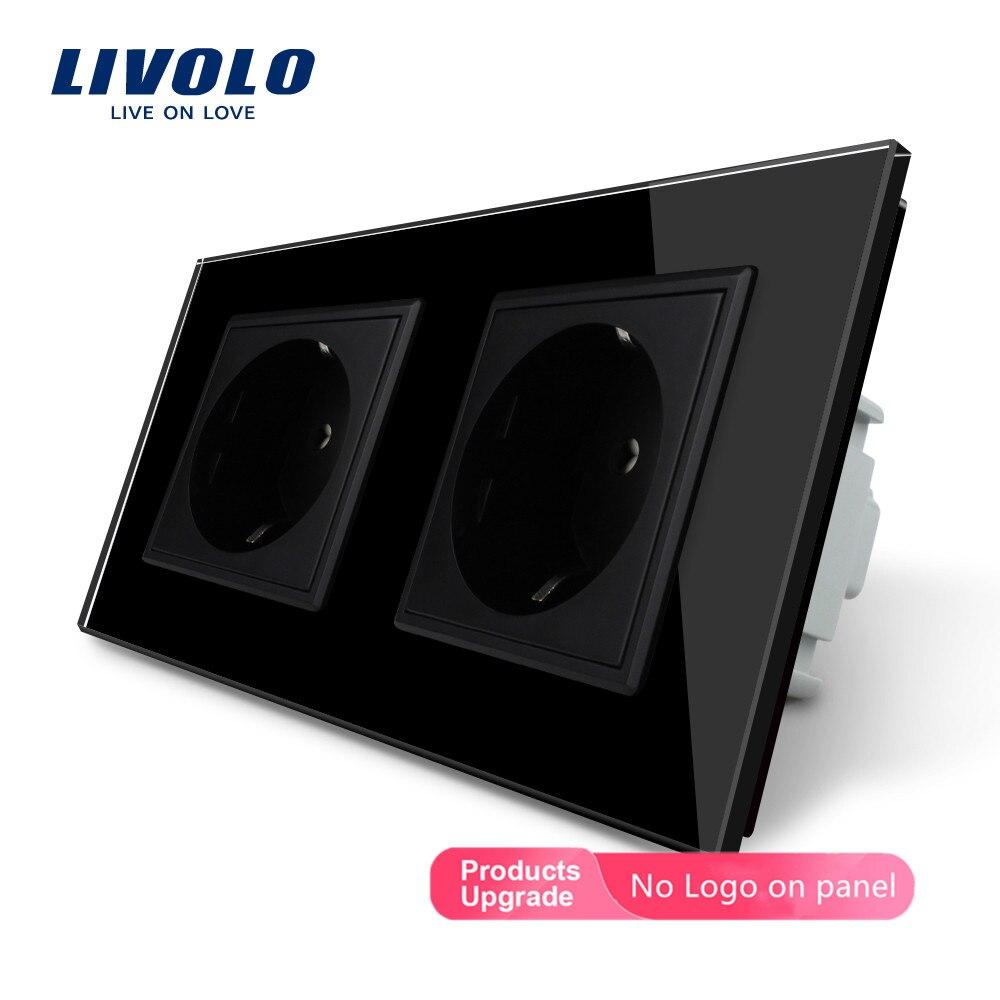Livolo الصانع ، Livolo الاتحاد الأوروبي الموحدة جدار السلطة المقبس ، أسود كريستال لوحة زجاج ، AC110 ~ 250V 16A مقبس الحائط VL-C7C2EU-12