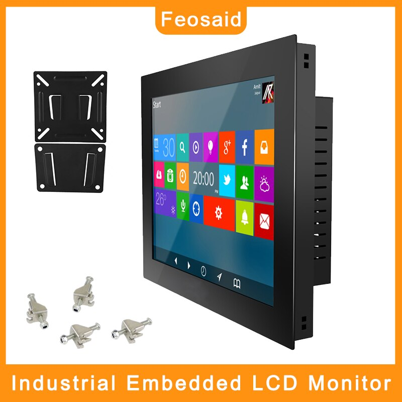 Feosaid 15/17/12/10 inch  industrial Monitor Touch screen display VGA DVI input for pc Standard cabinet installation
