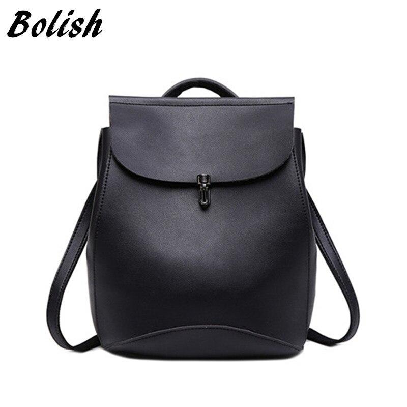 Bolish brand high quality PU leather women backpack vintage backpack for teenage girls casual bags female travel bag