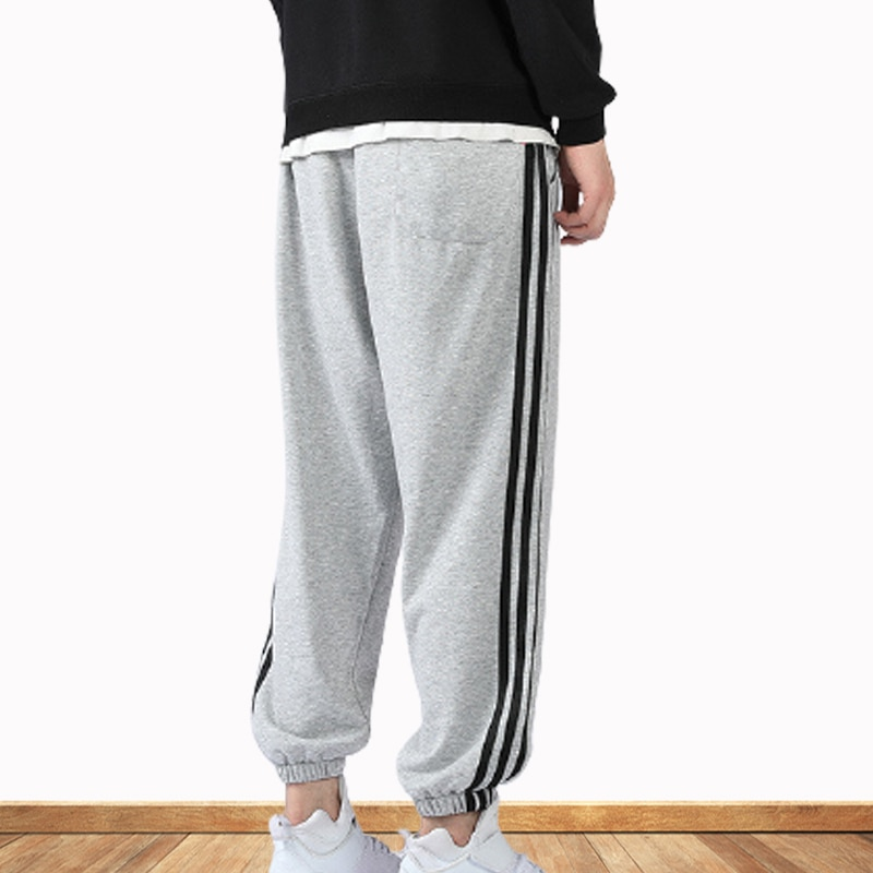 Sweatpants Spring And Summer Men's Casual Pants Korean Style Leggings Pants Loose Three-Bar Knitted Pants Trend Pure Cotton  - buy with discount