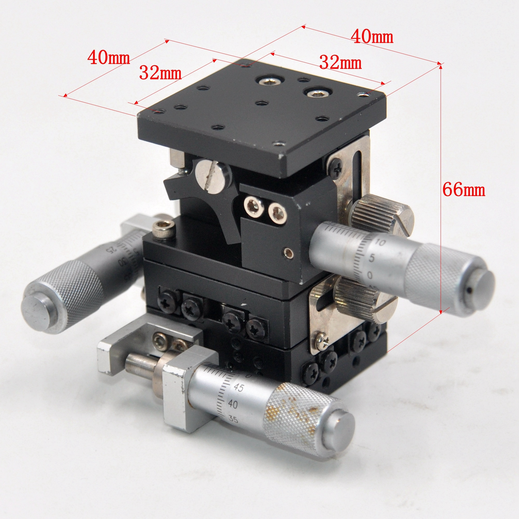 XYZ axis 40x 40mm manual fine adjustment sliding table optical displacement lifting stroke 8mm Aluminum