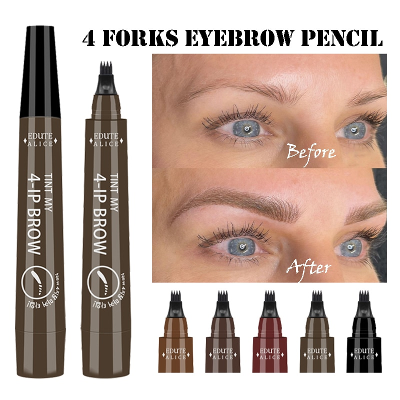 5 Colors Waterproof 3D Eyebrow Tattoo Pen 4 Fork Black Brown Natural Liquid Eyebrow Pencil Long Lasting Makeup Eye Brow Tint недорого