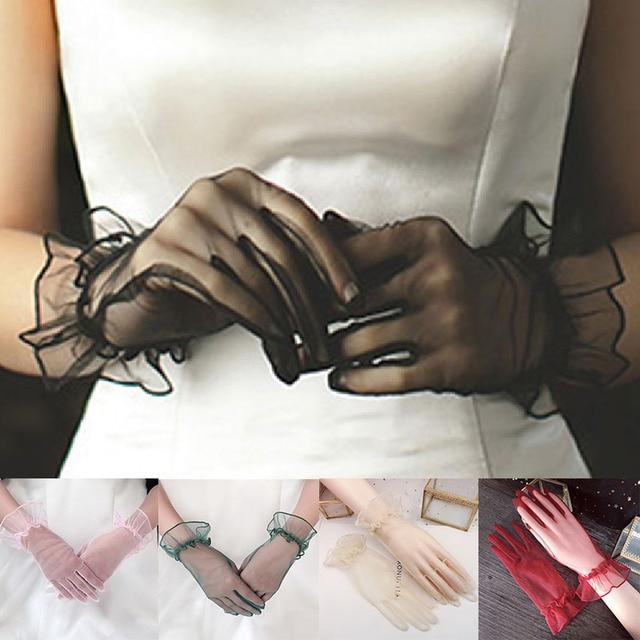 1 Pair Sexy Gloves Women Gloves Mittens Transparent Lace Gloves Full Finger Gloves Short Tulle Gloves Lotus Leaf Sheers Gloves