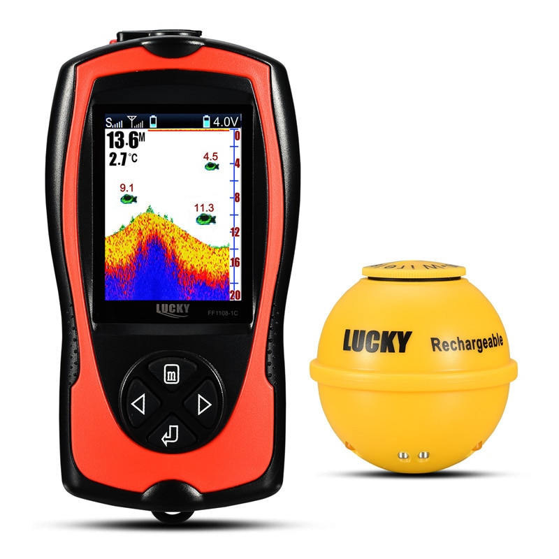 LUCKY FF1108-1CWLA Rechargeable Wireless Sonar for Fishing 45M Water Depth Echo Sounder Fishing Finder Portable Fish Finder