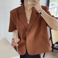 korean women loose caramel color short sleeve blazer casual summer 2021 female turndown collar single breasted short suit jacket