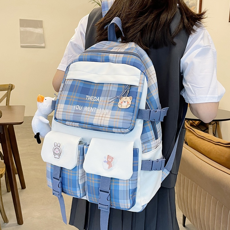 New Check Pattern Ladies Backpack Waterproof Nylon Fabric Leisure Travel Backpack Teenage Girl Student School Bag Laptop Bag рюкзак xiaomi 90 points commuter ladies backpack laptop waterproof nylon bag blue