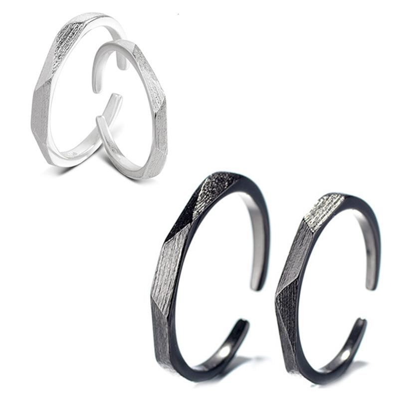 1PC New Minimalist Alloy Rhombus Geometric Open Ring For Women Men Couples Trendy Metal Black Color Matte Free Ring JewelryR185