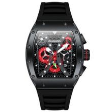 skeleton watch movement automatic watch men fashion barrel shape day and date dial sapphire waterpro