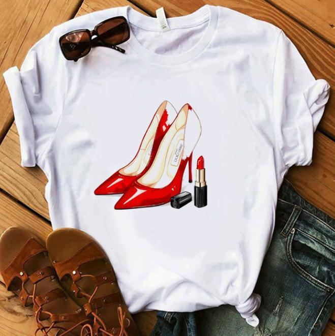 Camiseta roja de tacón alto para mujer, camiseta de lujo estilo de París maquillaje, camisetas cortas de verano para mujer, camisetas Hipster para chica