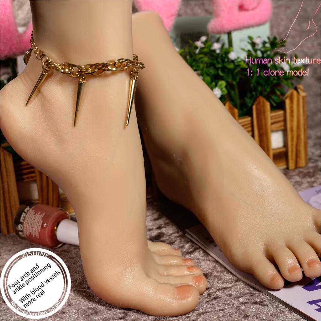 Modelo de pie de silicona de platino Visible para vasos sanguíneos Lifesize femenino 11 chica realista clonada para dibujar Calcetines
