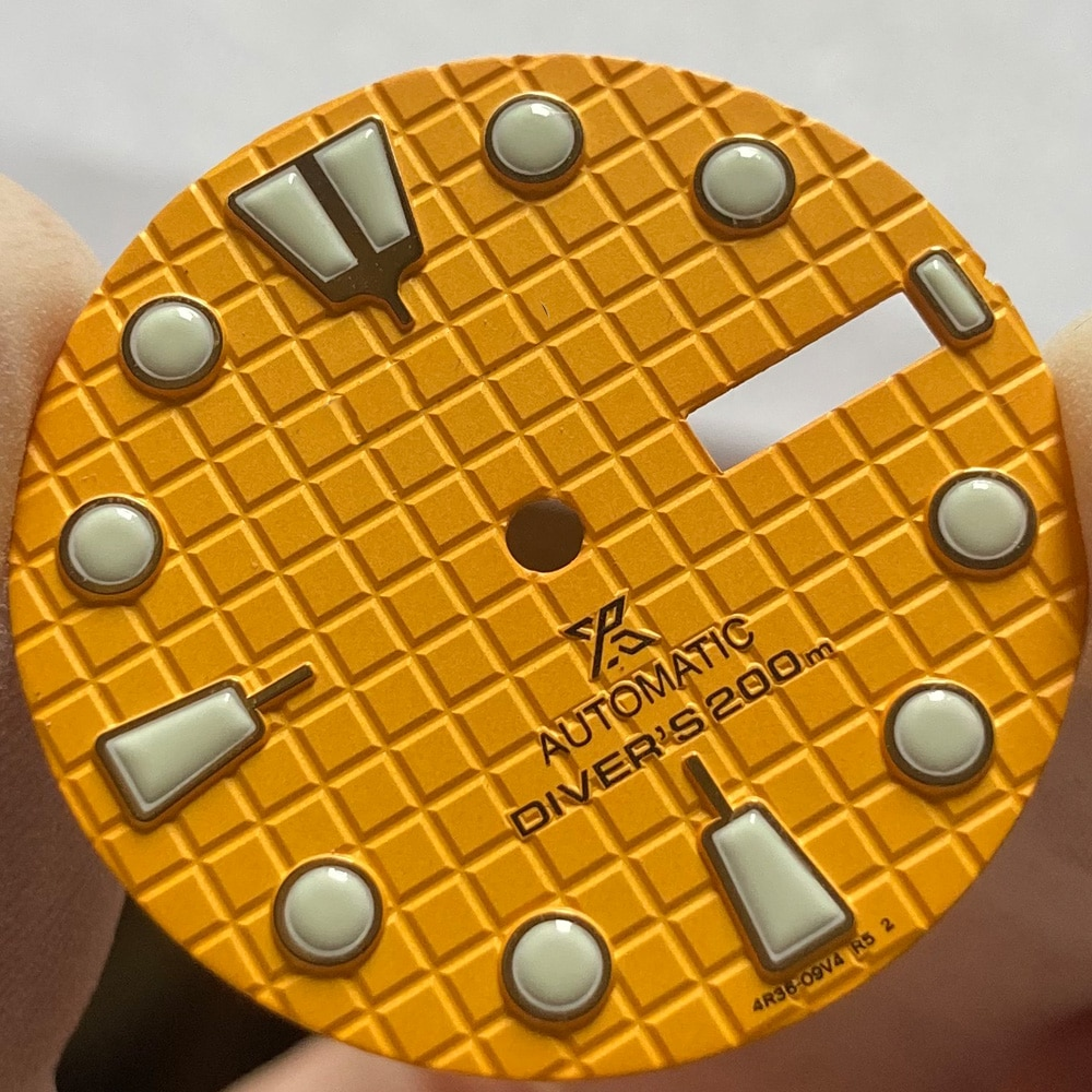 Watch Parts OEM 28.5mm Yellow Watch Dial Green Luminous Marks Fit NH36 Automatic Movement enlarge