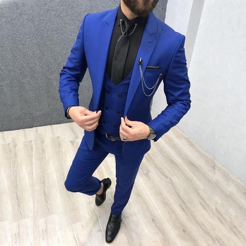 Мужской костюм-тройка с заостренным лацканом, Свадебный Смокинг на заказ, приталенный синего цвета (пиджак + брюки + жилет + галстук), 2020