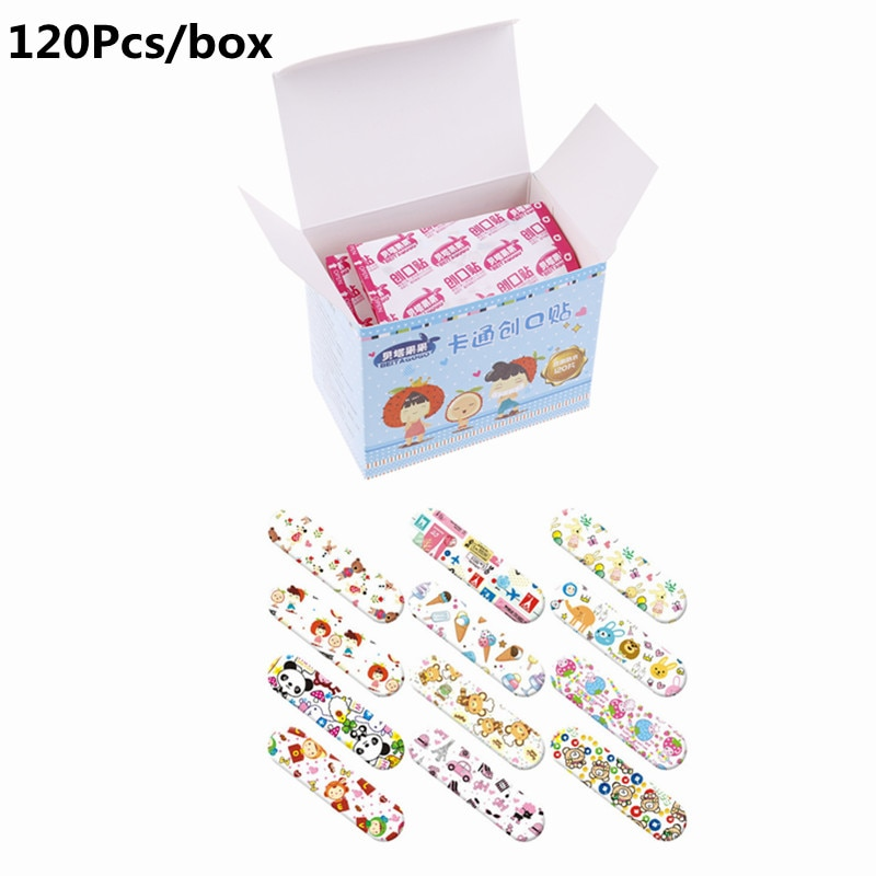 120Pcs Cute Cartoon Band First Aid Emergency Kit For Kids Children Aid Waterproof Breathable Hemostasis Adhesive Bandages