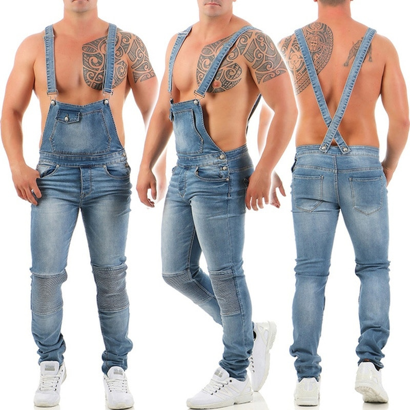 Men's Jeans Overalls Slim Fit Boyfriend Jean Jumpsuits Spring Autumn Streetwear Denim Bib Jumpsuit Male Long Rompers Pants S-3XL