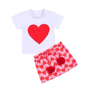 2-7Y Girl's Heart Printed 2Pcs Clothes Suit Short Sleeve Round Neck Big Heart Pattern T-shirt with Printed Short A-line Skirt