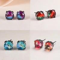 classic fashion 8mm tourmaline earrings for women creative black gold round gemstone crystal stud earrings birthday jewelry gift