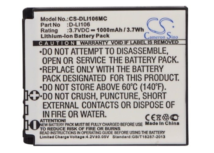 Cameron Sino 1000mAh Battery For Kodak PIXPRO SP1 ,PIXPRO SP1 HD, PIXPRO SP360 4K, PlaySport Zx5 ,
