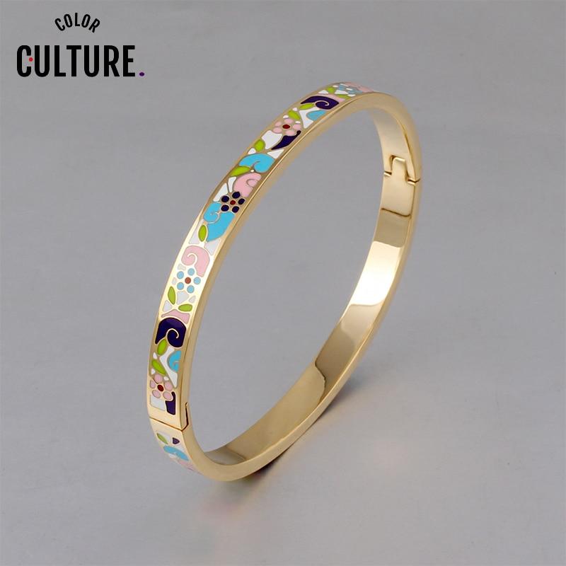 Bangles for Women Cuff Fashion 0.6mm Width Ethnic Colorful Enamel Bangles