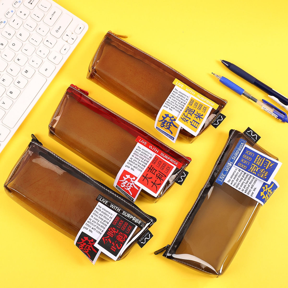 JIANWU 1PC Kawaii Retro fashion Triangle Pencil Case Good luck money Waterproof TPU Leather Pen Bag School Stationery